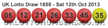UK lottery results for Saturday 12 October 2013