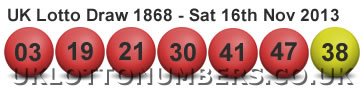 UK lotto results for Saturday 16th November 2013